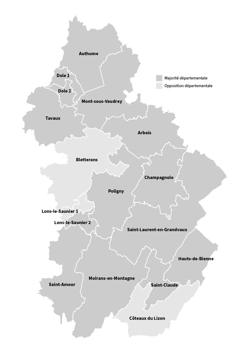 Carte des cantons du département du Jura