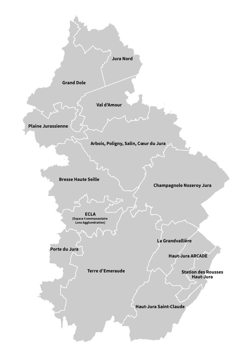 Carte des intercommunalités du département du Jura